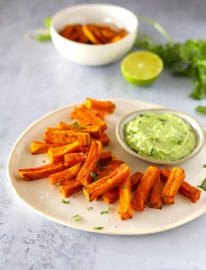sweet potato chips with avocado and yoghurt dipping sauce | Kids Eat by Shanai