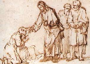 Jesus Heals the Leper - Rembrandt Sketch