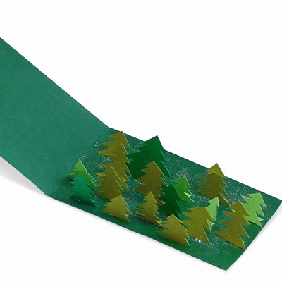 Χριστουγεννιάτικη Κάρτα 3D με Δάσος από Έλατα