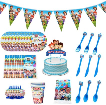 Cocomelons Birthday Party Supplies for Kids, Party Decorations Included Paper Plates, Cups, Napkins, Tablecloth, Pennant, Cake Topper, Gift Bags, Blowouts, Invitation Cards (149pcs)