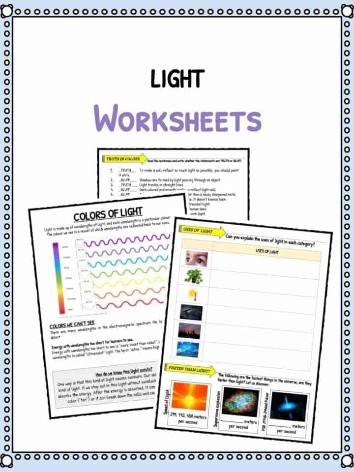 light facts worksheets for kids types speed of light. Black Bedroom Furniture Sets. Home Design Ideas