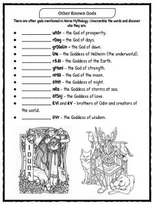 Norse Gods Amp Goddesses Facts Amp Worksheets Norse