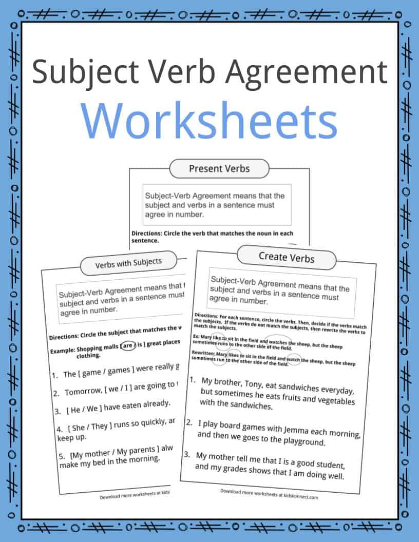 Subject Verb Greement W Ksheets Kidsk Nect