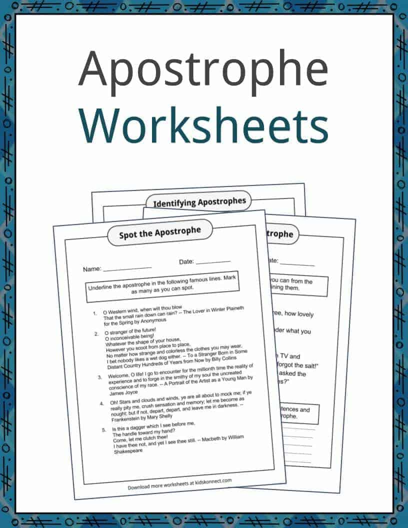Apostrophe Examples Definition And Worksheets