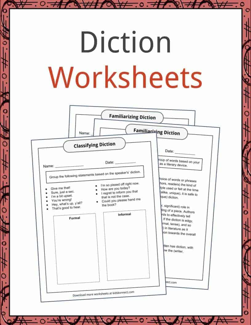 Diction Examples Definition And Worksheets