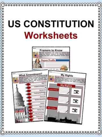 US Constitution Worksheets