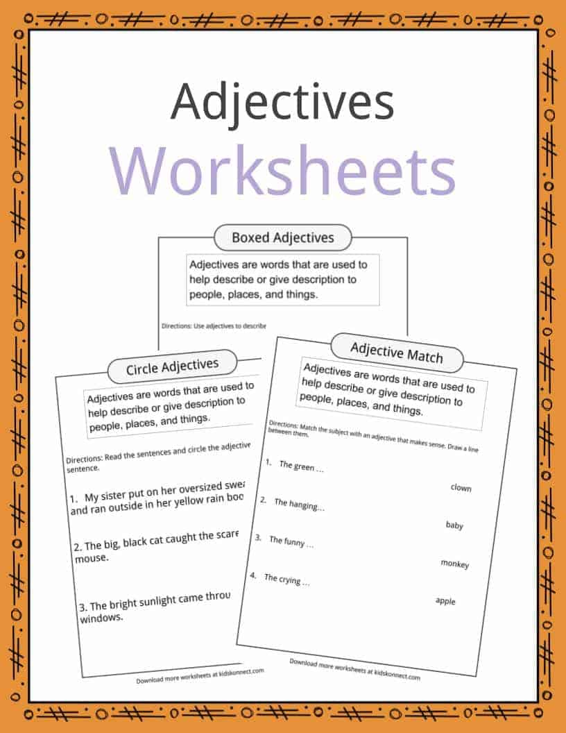 Adjectives Definition Worksheets Amp Examples In Text For Kids