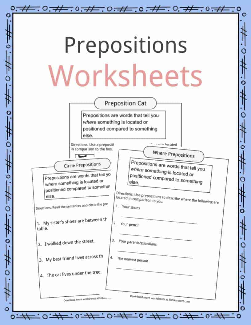 Prepositions Definition Worksheets Amp Examples In Text For