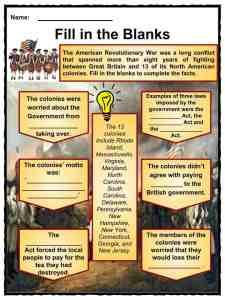 American Revolution Worksheets, Facts, Timeline & Key