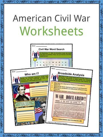 American Civil War Worksheets