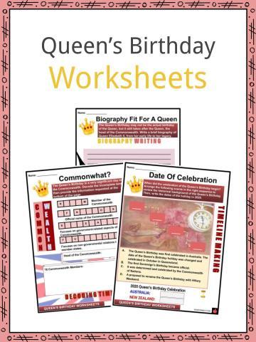 Queen's Birthday Worksheets