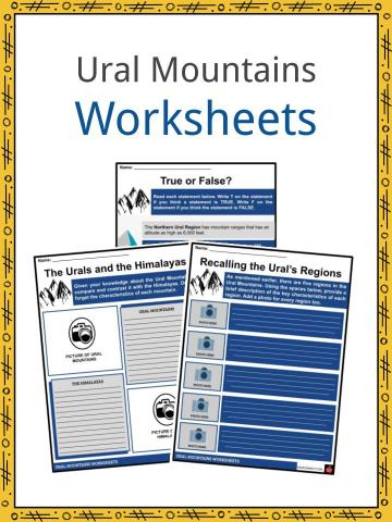Ural Mountains Worksheets