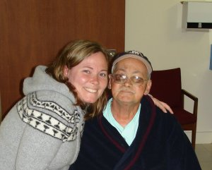 Sharing a moment a few weeks before he died. He had been making jokes about the food in palliative care. He has black eyes because he slipped and fell a few days before this.