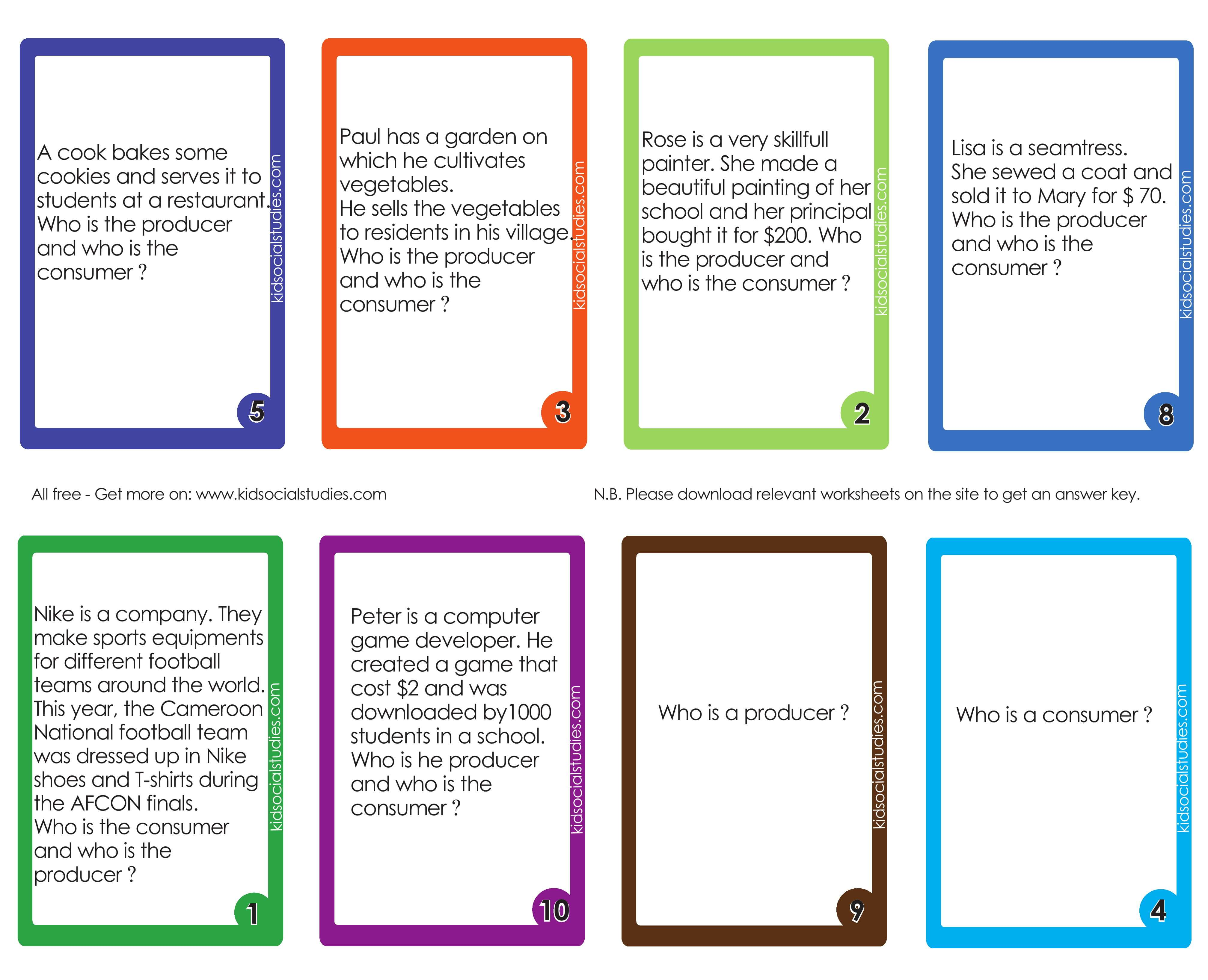 Producers And Consumers Flash Cards For Kids