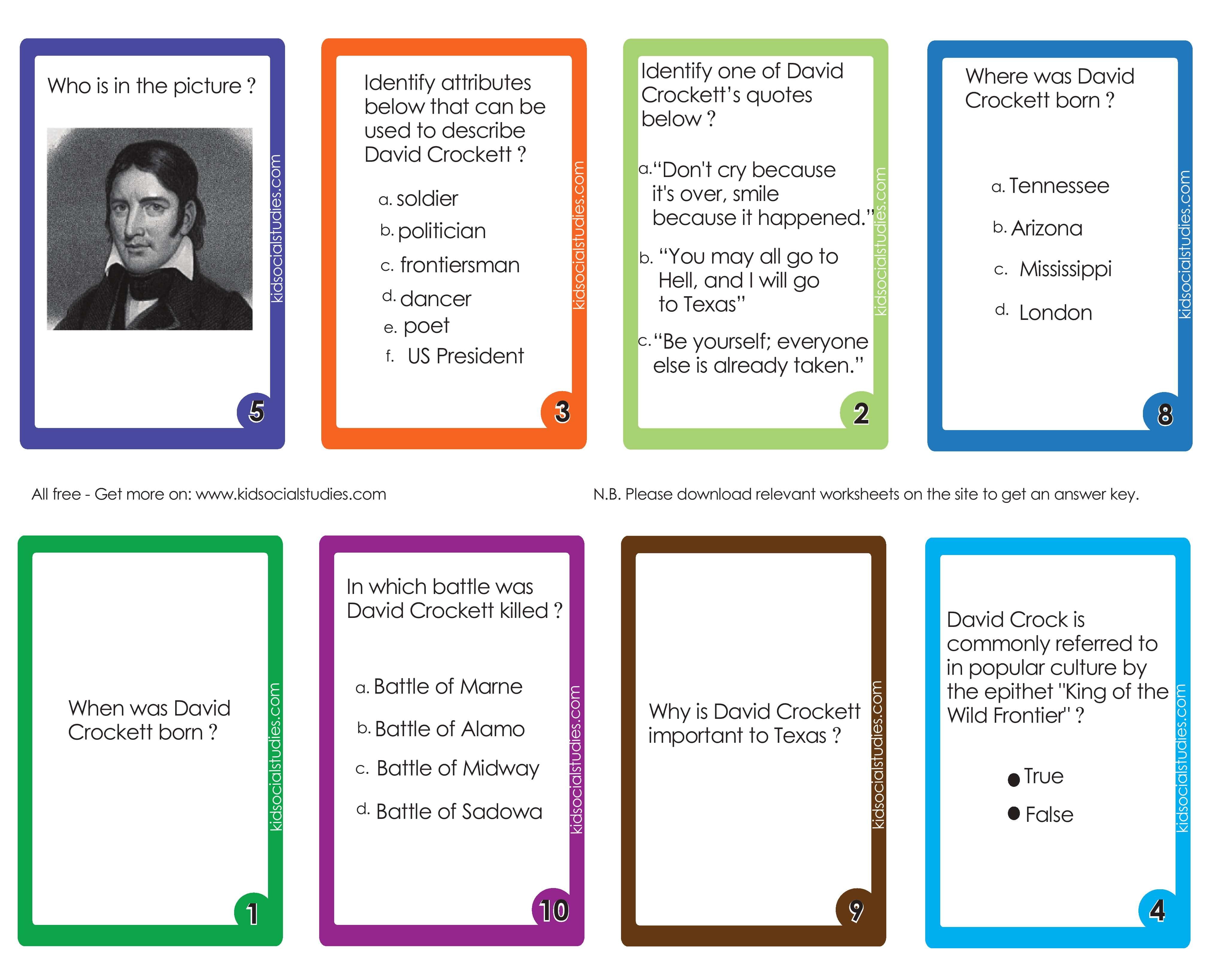 Davy Crockett Flash Cards