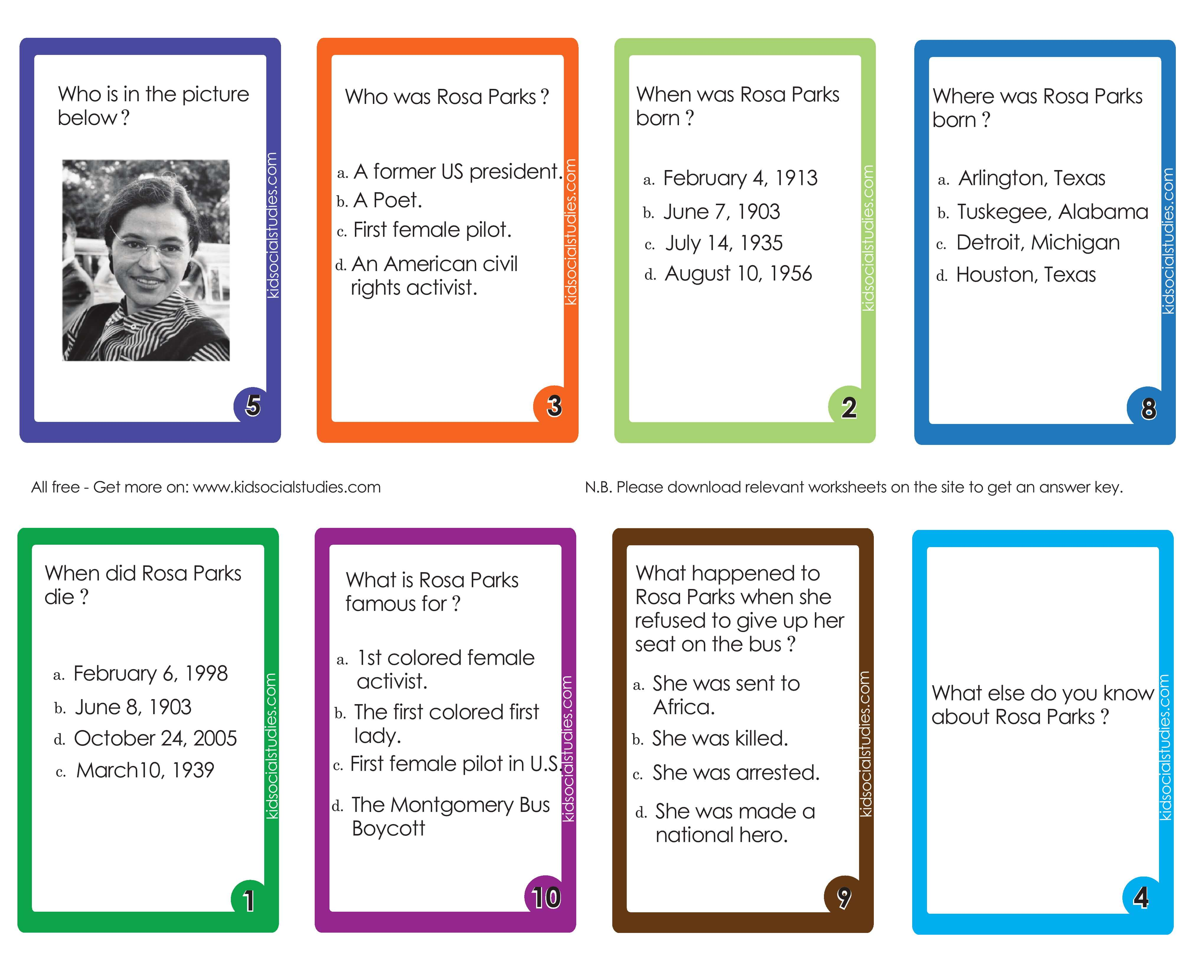 Rosa Parks Flash Cards Printable Downloads