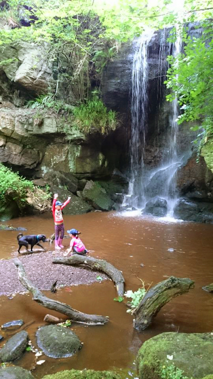 Image of two children and dog on pebble beach by rocky waterfall