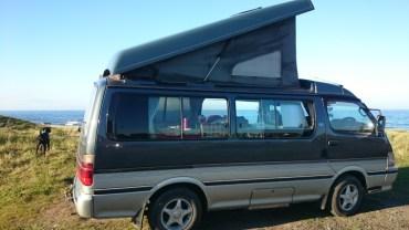 Image of camper-van-and-dog-overlooking-sea