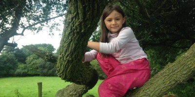 Image of girl in pink top and trousers sitting on tree branch with fields and woods behind