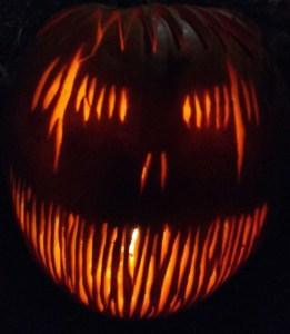 Image of carved pumpkin-with-razor-sharp-teeth design
