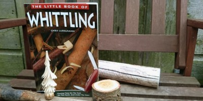 Image of little-book-of-whittling-book-with-wood-logs-and-mini-carved-tree-on-bench-in-front-of-fence