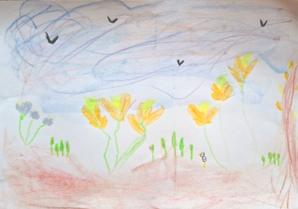 drawing-of-snowdrops-sky-birds-and-a-tree