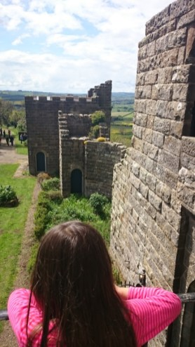 Image of girl looking over wall across ruins