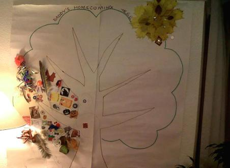 Image of tree outline on wall mural with stickers etc attached