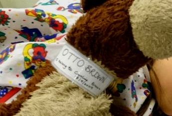 Close up image of hospital ID label around cream and brown teddy bear's neck