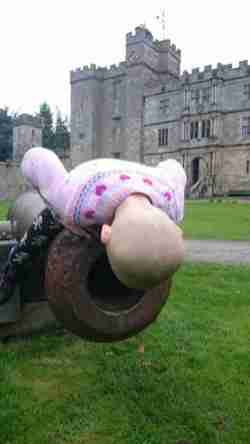 Image of girl with no hair sitting looking into mouth of iron cannon in front of castle