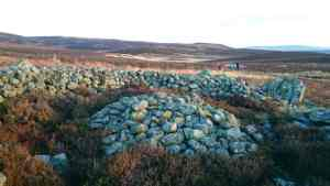 Image of circular ring of stones forming prehistoric burial cairn with far reaching moorland view behind and three people in distance