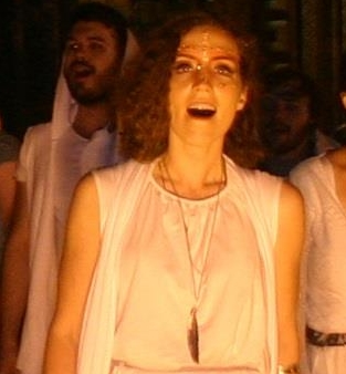 Image of woman in white costume at Jesus Christ Superstar performance