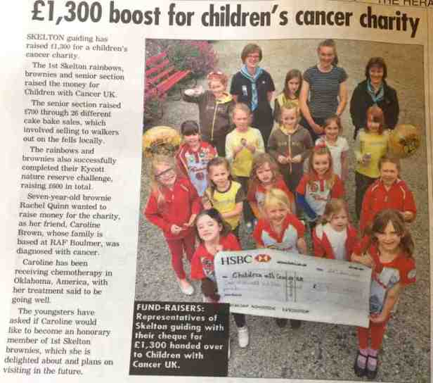 Image of newspaper cutting of Brownies' charity fundraiser