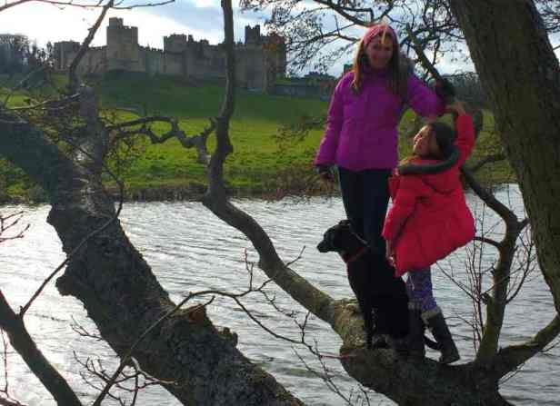 Image of woman, girl and black dog standing on branch over water with castle in background