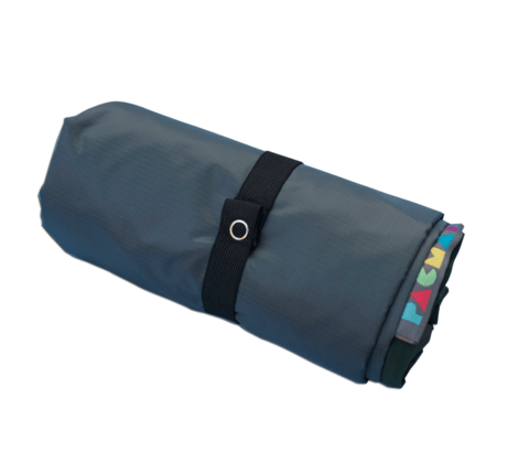Image of dark grey fabric roll fastened with elastic with a Pacmat label displayed
