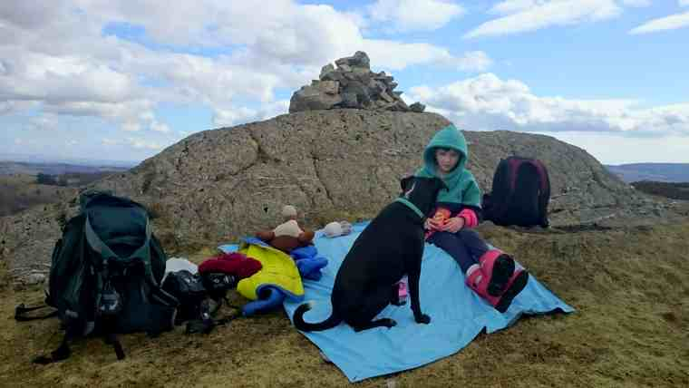 Image of girl in striped top sitting on sky blue picnic rug with black dog against cairn of stones at top of hill with blue sky and clouds behind