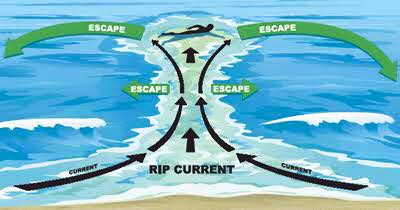 Image showing info graphic of coastal riptides and how to escape them