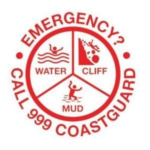 Image of Circular Red Sign Stating Water Cliff Mud Emergency Call 999 Coastguard