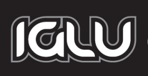 Image of black background with white writing edged in grey stating Iglu