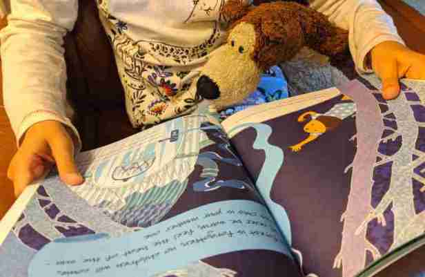 Image of child holding open picture book on lap with brown cuddly bear under arm looking as though it is reading the book