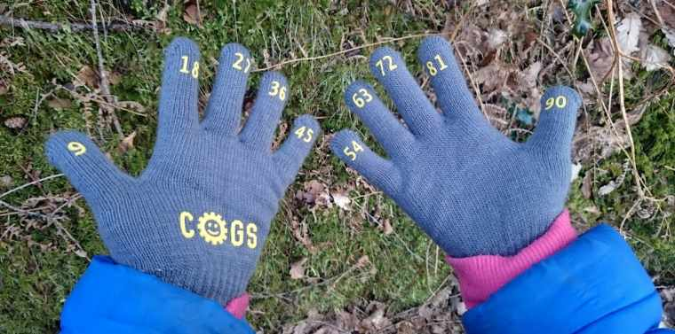 Image close up of child's hands wearing pair of grey counting gloves with yellow numbers on each fingertip with grassy ground behind