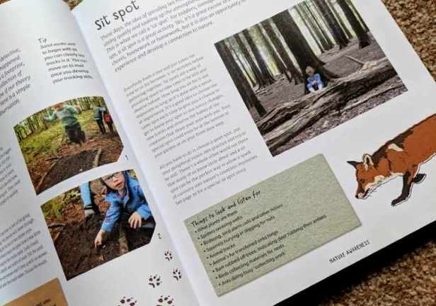 Image of double page spread of book showing photos, illustrated fox and paw prints