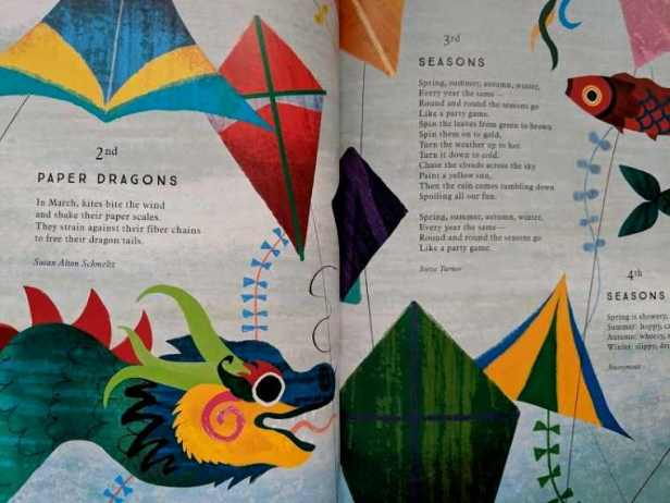 Image of double page spread from poetry book with illustrations of Chinese decorations and poems