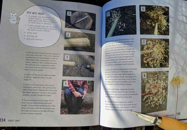Image of double page spread of book showing numbered phioto instructions for carved whittling project