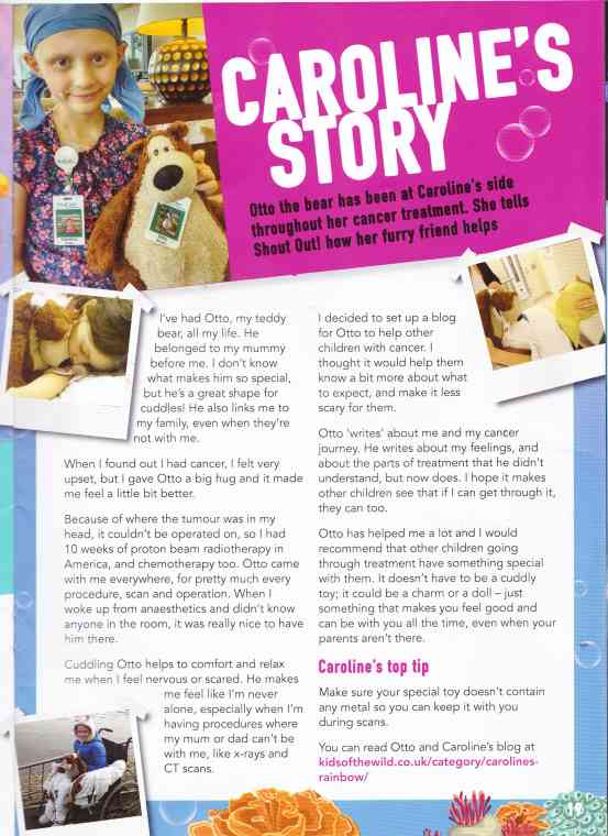 Image of magazine scan of child's cancer story interview with her teddy bear