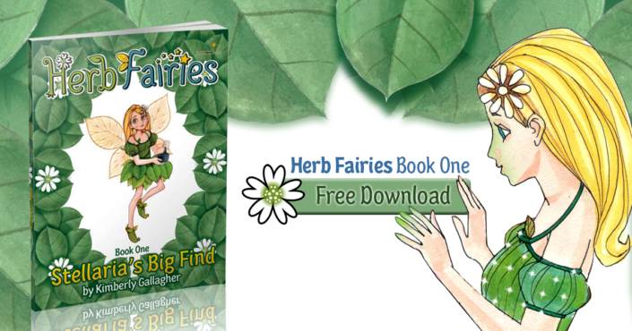 Image of book titled Herb Fairies Stellaria's Big Find with free download button and picture of blonde haired fairy in green dress