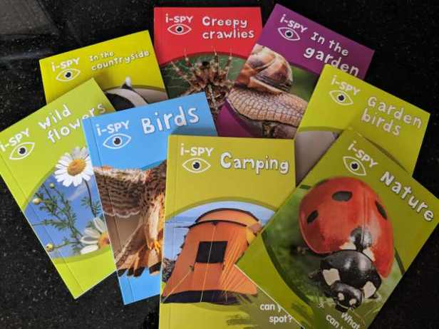 Image of 8 coloured childrens i-spy books showing titles nature, camping, birds, garden birds, creepy crawlies, wild flowers, garden, countryside