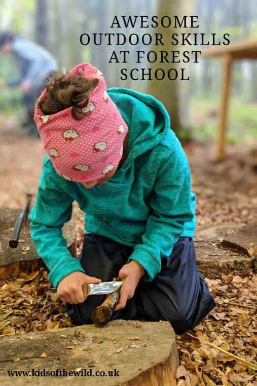 Image of girl kneeling on woodland floor whittling with a knife