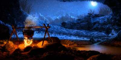 Black cauldron cooking on campfire in a dark cave with full moon in distance, ready for a campfire story