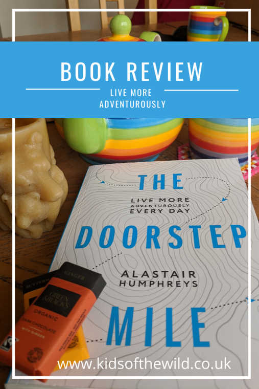 The Doorstep Mile book on table with mug, teapot and chocolate with blue book review banner